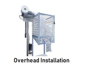 Air cushion packaging overhead installation